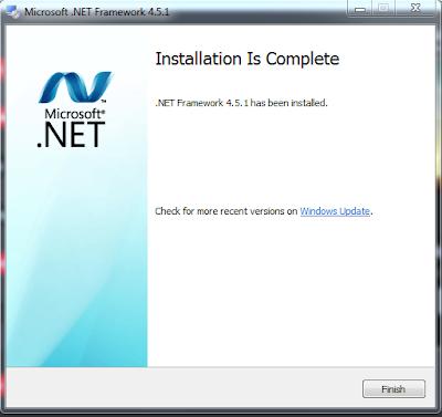 Bukti screenshot install Net Framework 4.5.1 sukses