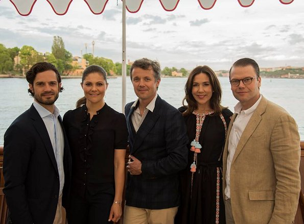 Crown Prince Frederik, Crown Princess Mary, Crown Princess Victoria Prince Daniel and Prince Carl Philip on the Dannebrog Royal Yacht in Stockholm