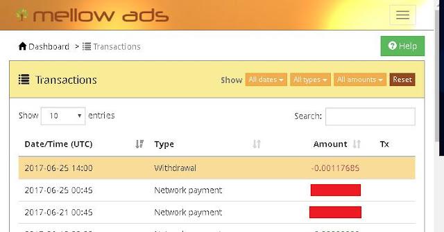 Proof rút tiền từ Mellowads