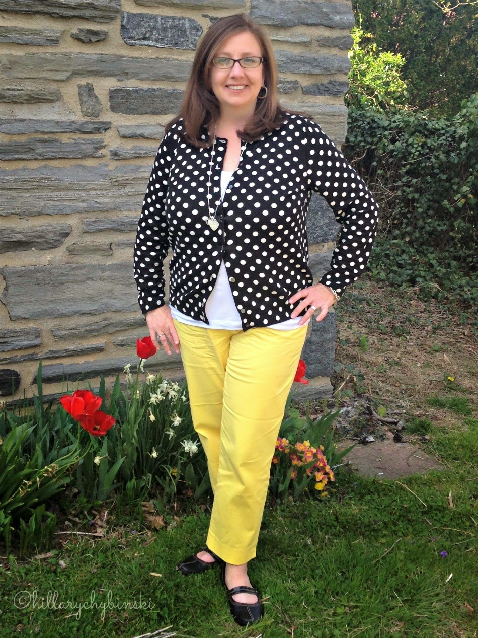 Styling Yellow Ankle Pants with a Polka Dot Cardigan