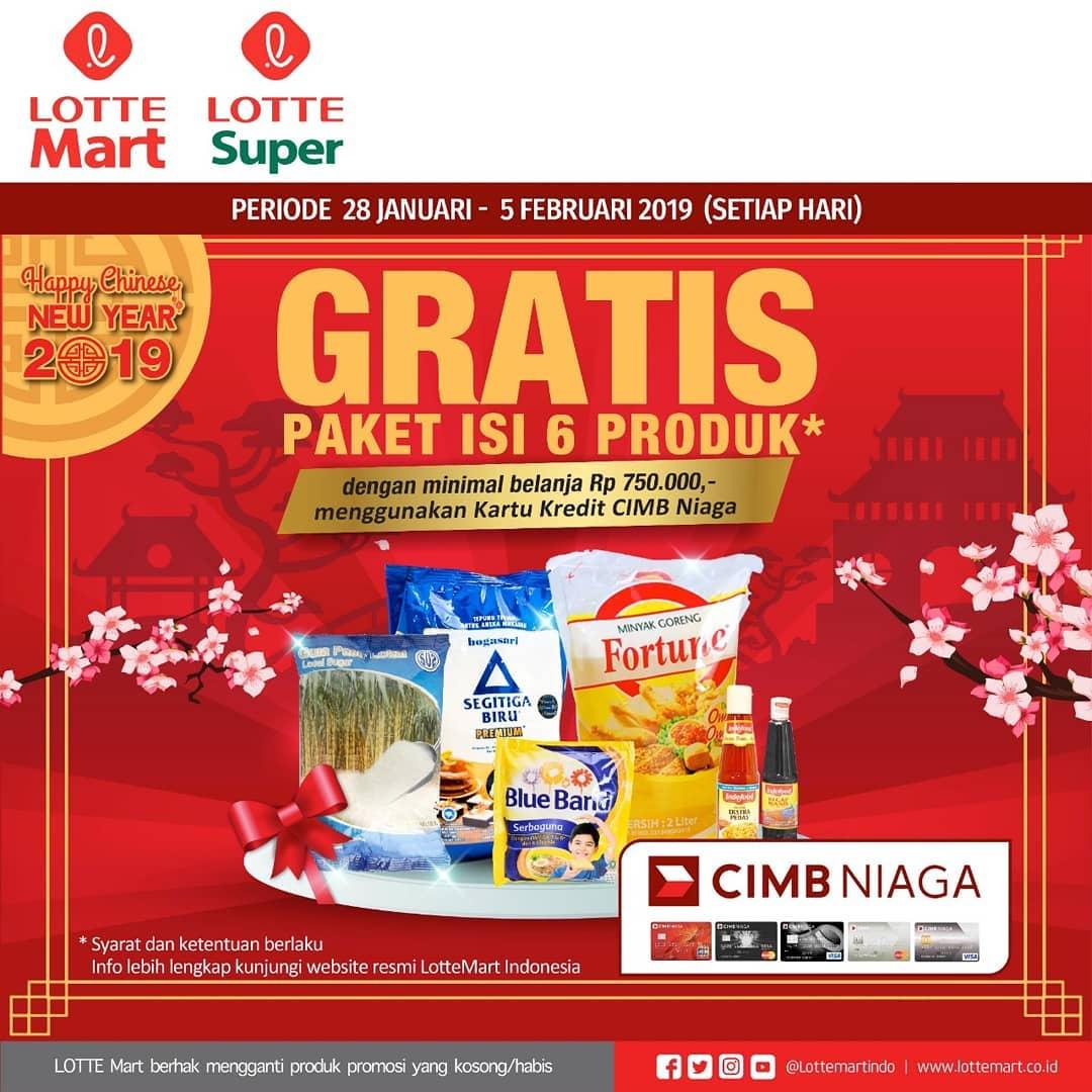 #LotteMart #LotteSuper - #Promo Gratis Paket Isi 6 Produk Pakai Kartu Kredit CIMB Niaga (s.d 05 Feb 2019)