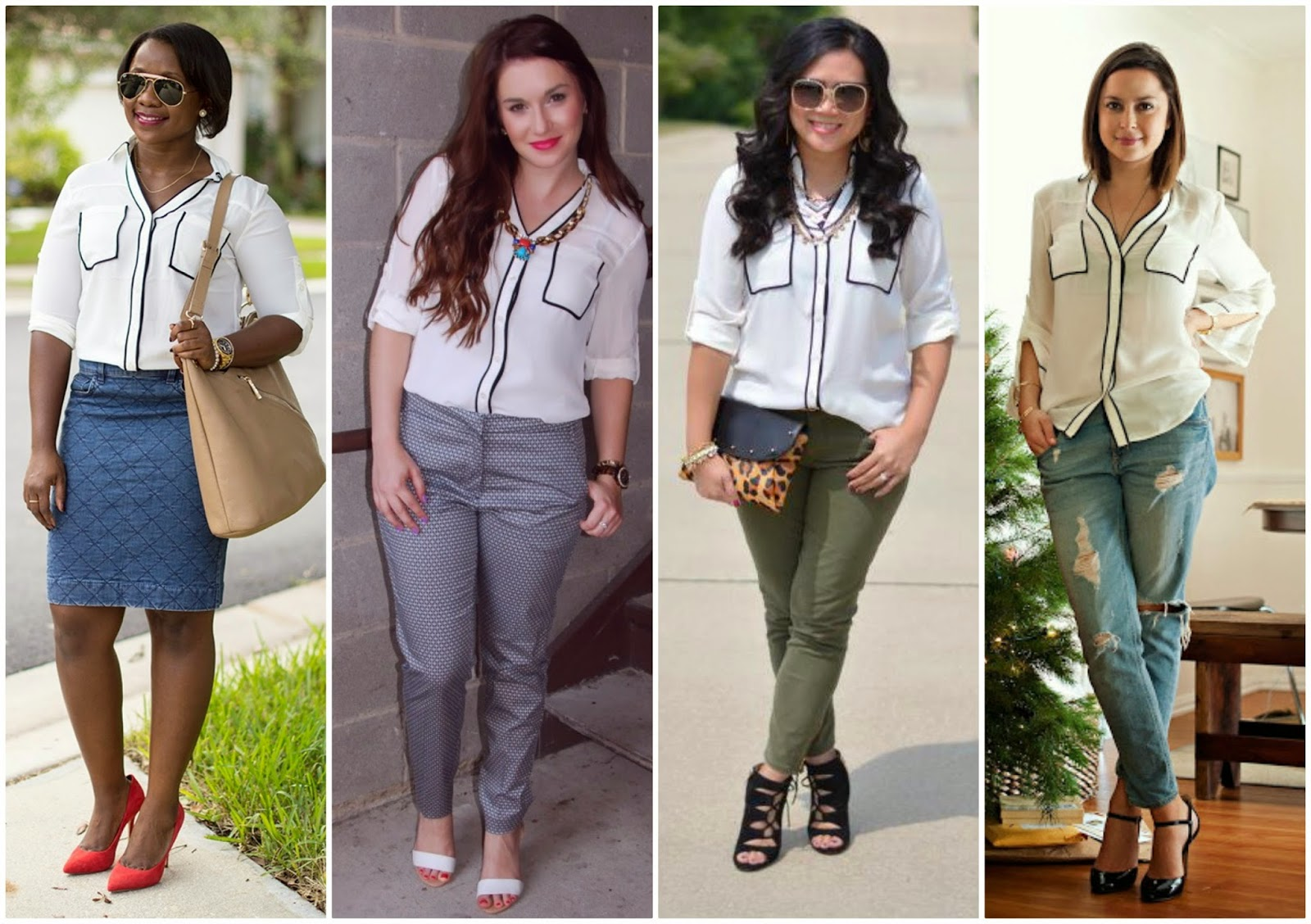 Express Contrast Piping Portofino Shirt, how to style, 4 ways to wear