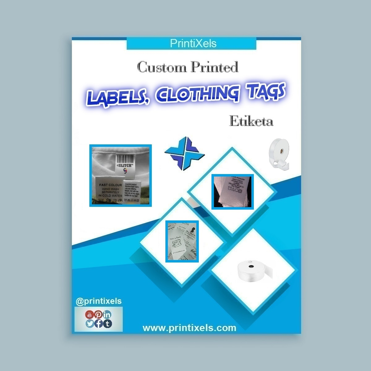 Custom Printed Labels, Clothing Tags, Etiketa