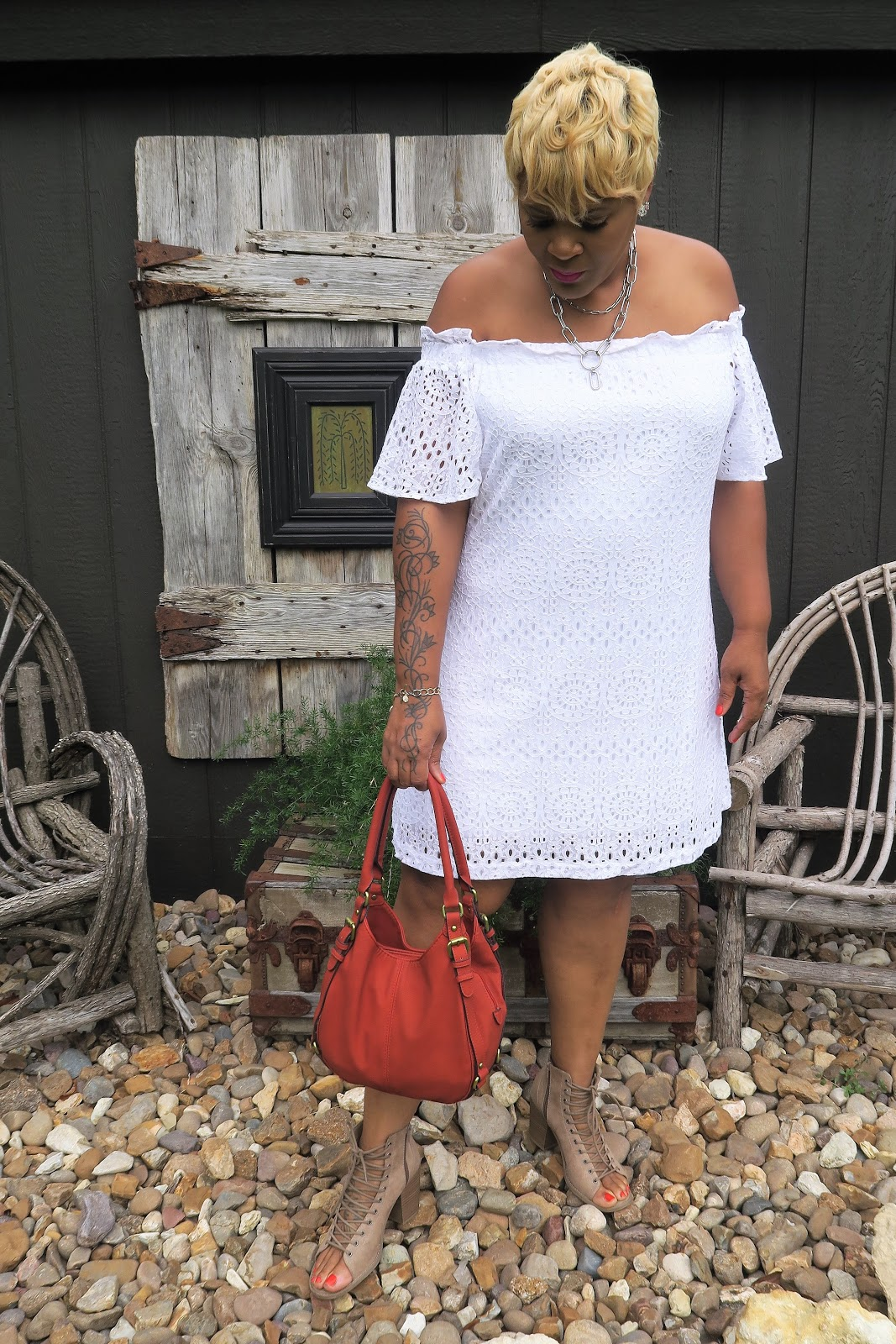 Image: Women wearing off the shoulder dress. Bits and Babbles by Tangie Bell
