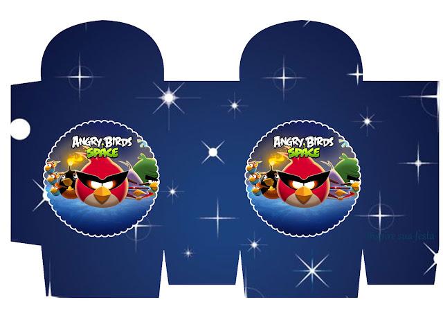 Cajas para Imprimir Gratis de Angry Birds en el Espacio.