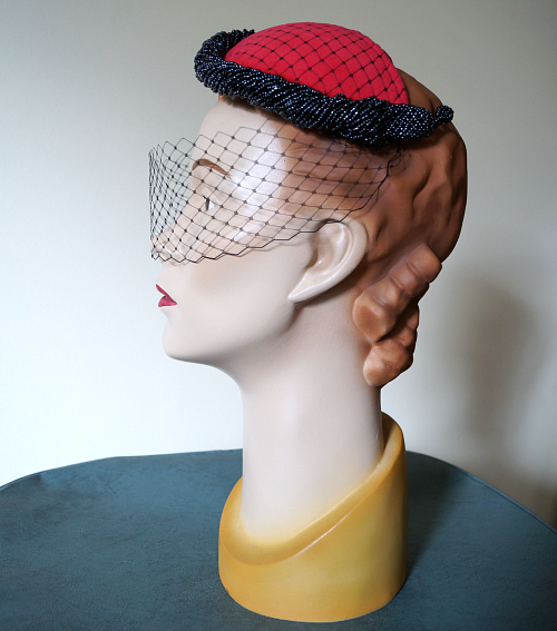 Tanith Rowan: 1950s half hat with velvet, beads and veil