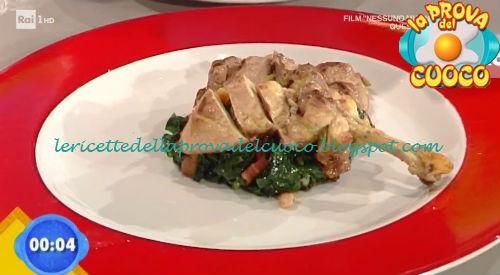 Faraona alla senape con spinaci saltati e pancetta ricetta Bertol da Prova del Cuoco