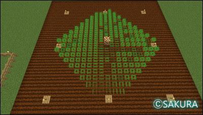 Minecraft  畑 農民が農作業するマンハッタン距離の範囲