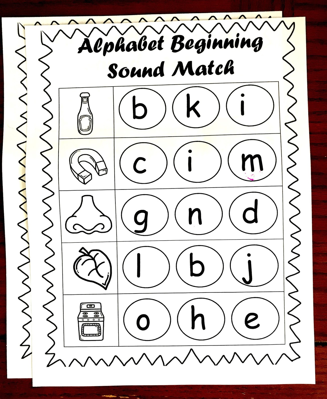 Free Beginning Sounds Worksheets