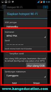 pengaturan sandi wifi android