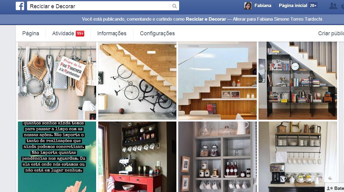 página do facebook do Reciclar e Decorar blog