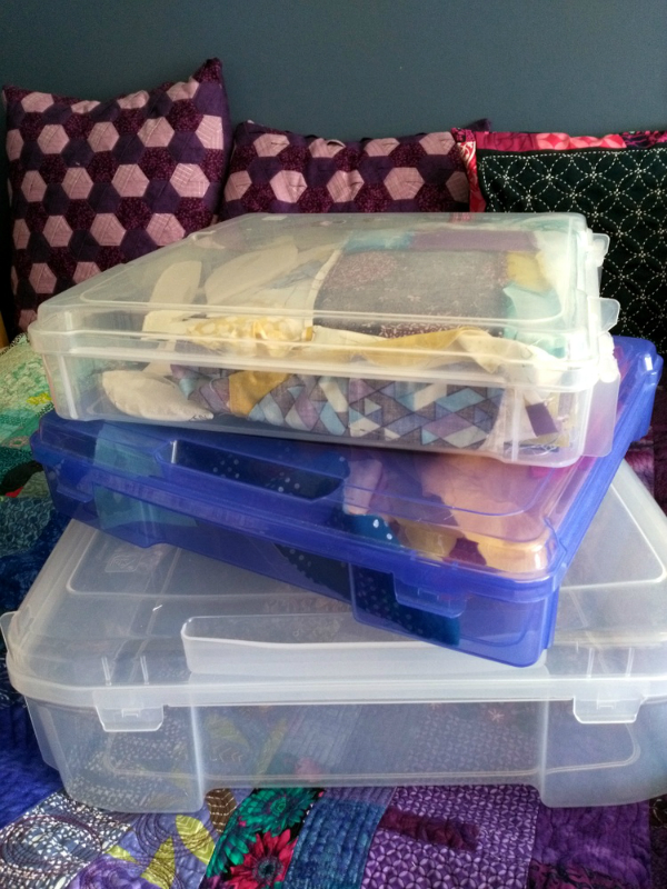 Project bins for quilting organization | DevotedQuilter.blogspot.com