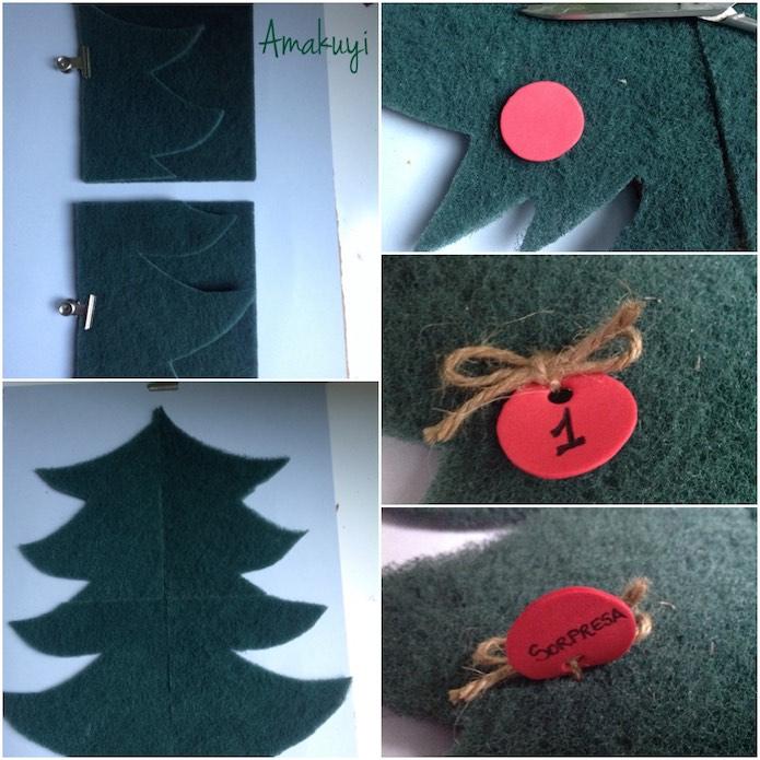 silueta de árbol de navidad con estropajo y carteles de goma Eva