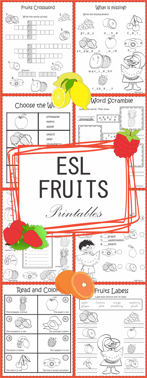 ESL Fruits Vocabulary Worksheets Printables