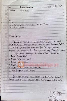 contoh surat lamaran kerja tulis tangan BUMN persero PLN pegawai negeri KAI terbaik manual terbaru bagus baik dan benar sesuai eyd fikriwildannugraha.blogspot.com