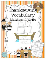 Thanksgiving Vocabulary Match & Write, www.JustTeachy.blospot.com