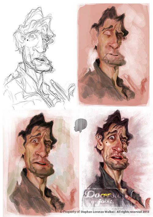 Proceso de Caricatura de Robert de Niro por Stephen Lorenzo Walkes