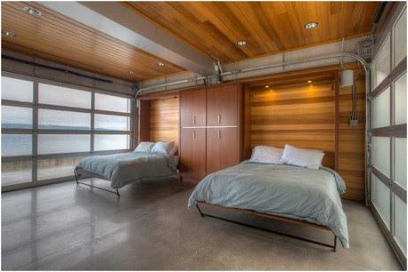 Modisch-Gästezimmer-beispiele-Ideen-Murphy-Betten-Betonböden-und-holzwände