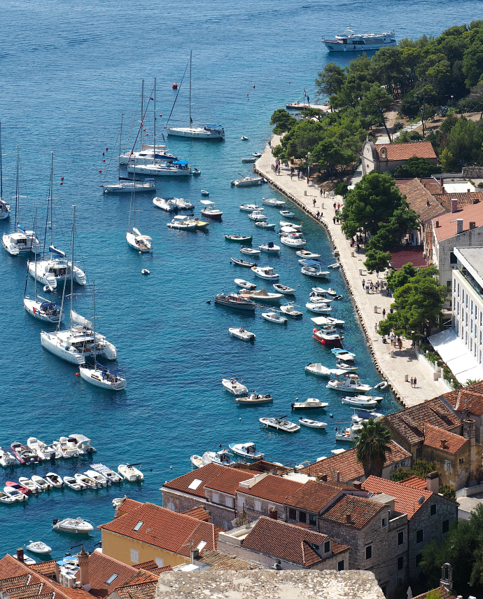 hvar harbour from above