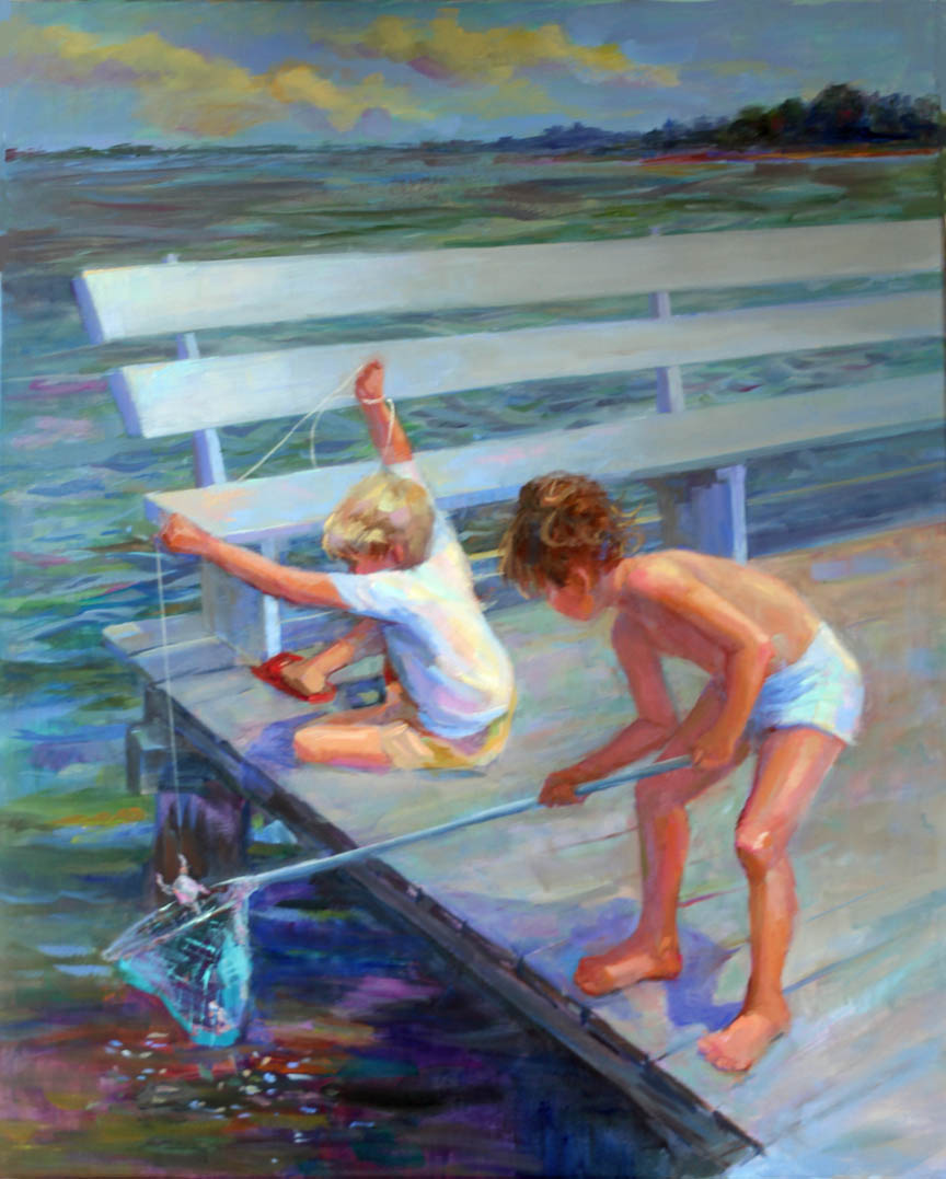 Oil Paintings Of Children Crabbing