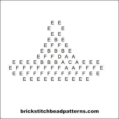 Click for a larger image of the Mini Flower Witch Hat Halloween bead pattern word chart.