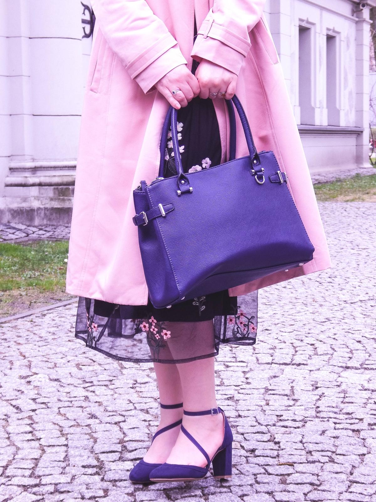 8 orsay trendy wiosna 2018 nowa kolekcja moda fashion blog blogerki modowe łódź z łodzi łódzkie melodylaniella fashion instagram sukienka na wesele różowy płaszcz granatowe pantofle total look