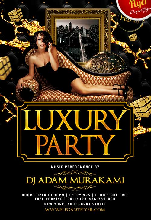 Free Luxury Party Club Flyer Psd Template  Download Free Flyer