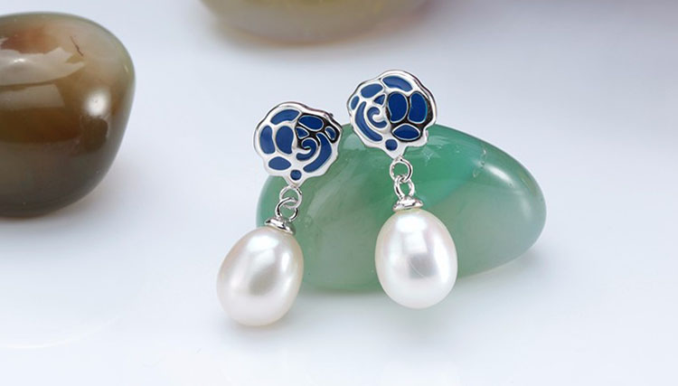 滴釉玫瑰淡水真珍珠耳環