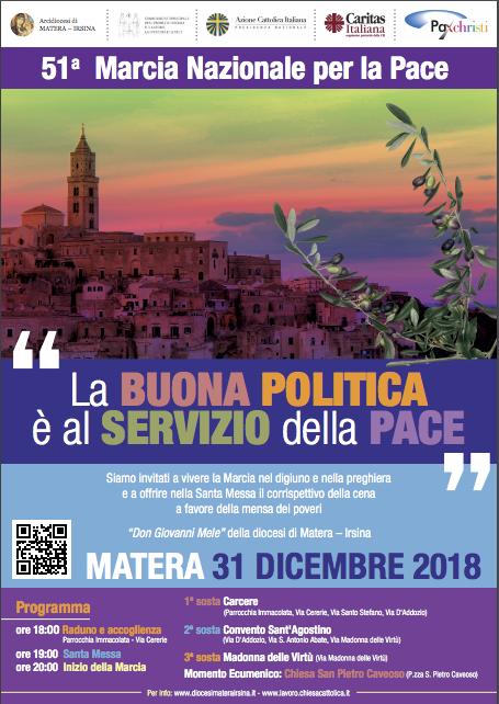 A Matera il 31 dicembre 2018 la 51° Marcia nazionale della Pace