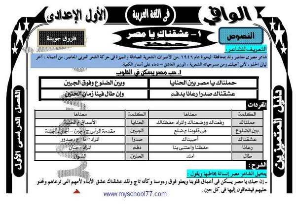 مذكرة اللغة العربية للصف الأول الاعدادى ترم اول 2020  أ. محمد عبد اللطيف