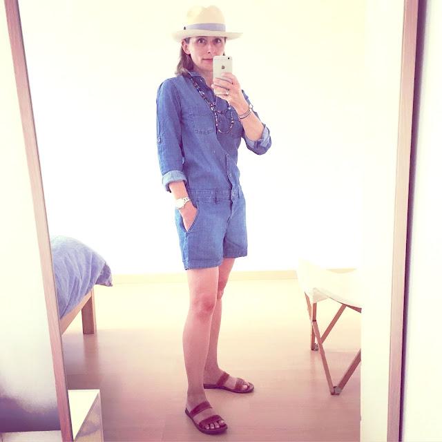 outfit combishort denim h&m vue de 3/4