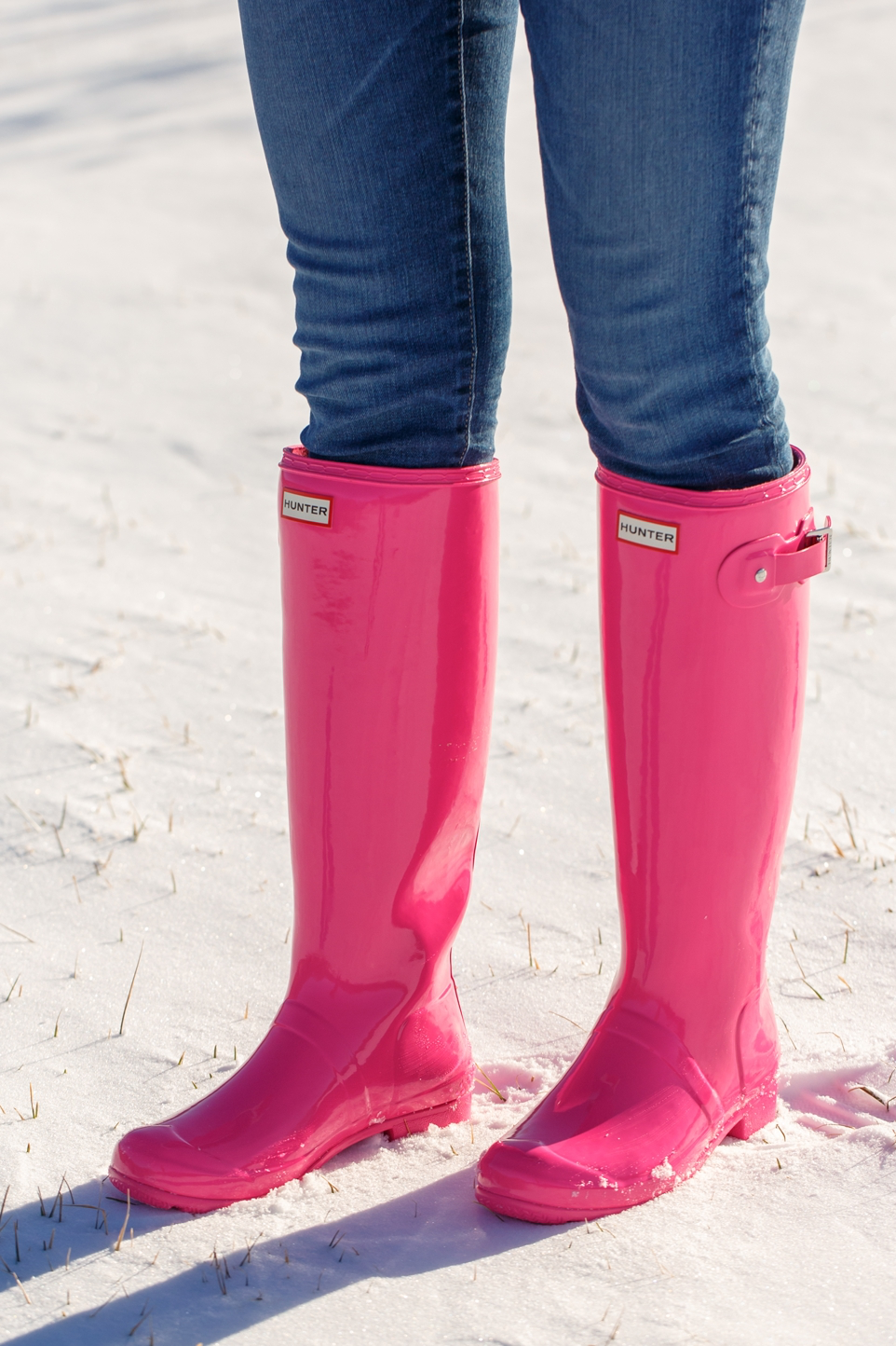 Pink Hunter Boots in Snow