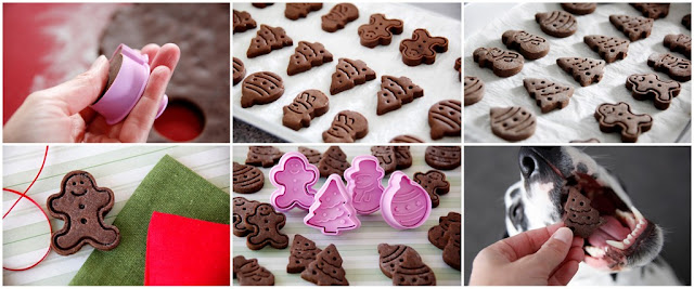 Step-by-step making Christmas dog treats with plunger cookie cutters