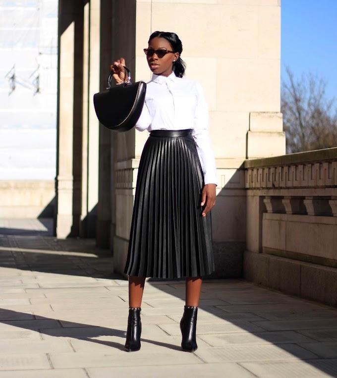 1 Leather Pleated Skirt, Styled 3 Ways, By @amagodson_a