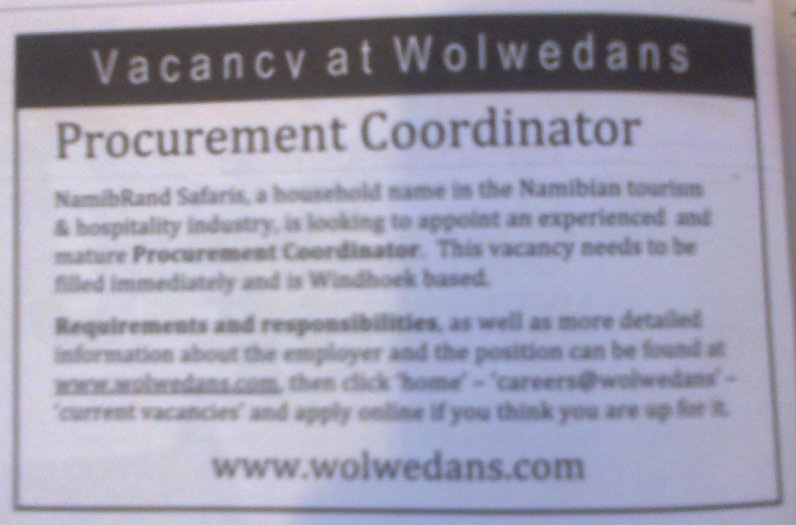 job vacancy procurement coordinator namibrand safaris windhoek