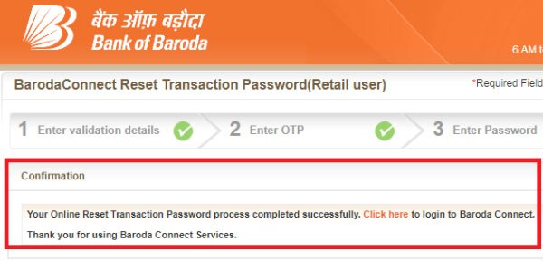 how to reset transaction password for bank of baroda