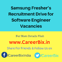 Samsung Fresher's Recruitment Drive for Software Engineer Vacancies