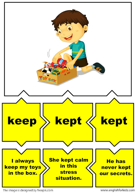 english irregular verbs flashcards, verb keep
