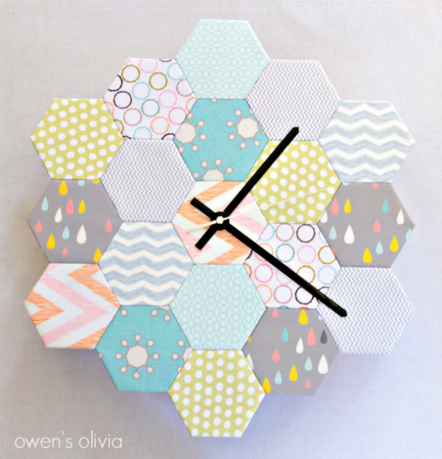 reloj geométrico con telas diy