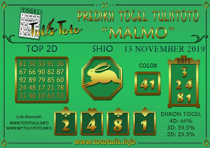 Prediksi Togel MALMO TULISTOTO 13 NOVEMBER 2019