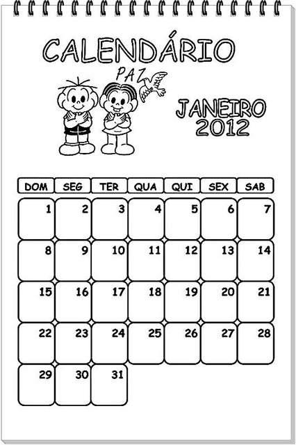 Calendário da Turma da Mônica 2012.