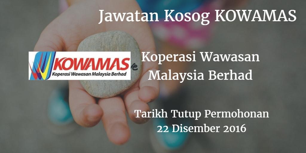 Jawatan Kosong KOWAMAS 22 Disember 2016