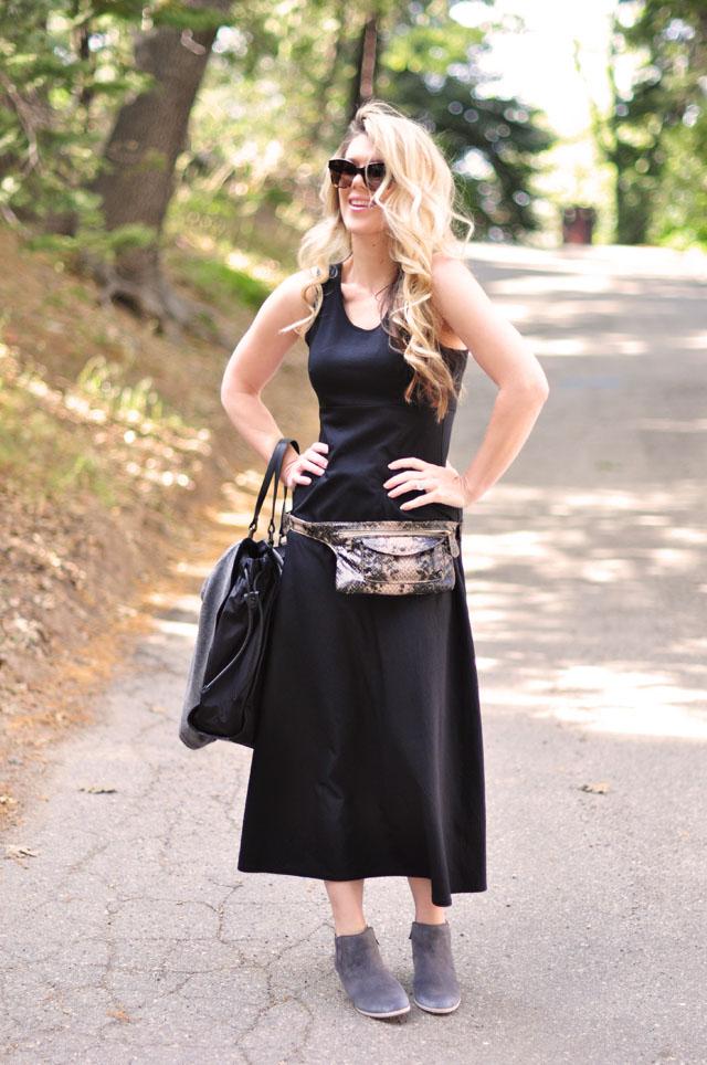contempo casuals dress, hip bag, ankle boots