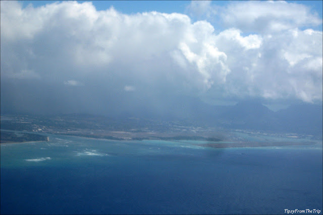 Aerial shot of Honolulu airport and the Pacific Ocean.