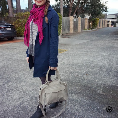 awayfromblue instagram magenta scarf purple jeans mixed print shirt and navy mac coat colourful winter office outfit