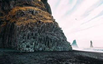 Wallpaper: Reynisfjara, black pebble beach in Iceland