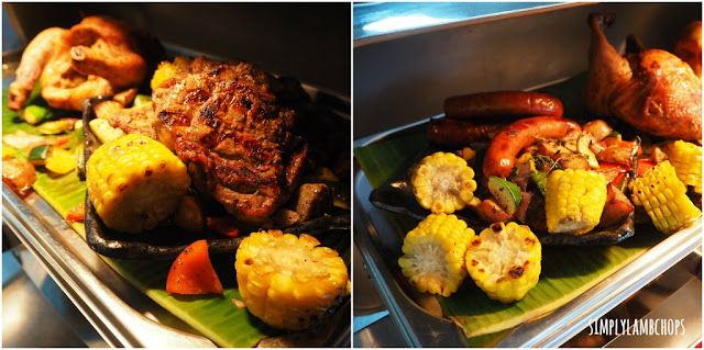 Sandbank Lunch Buffet: grilled beef, roast chicken, sausages, sweet corn and roasted vegetables