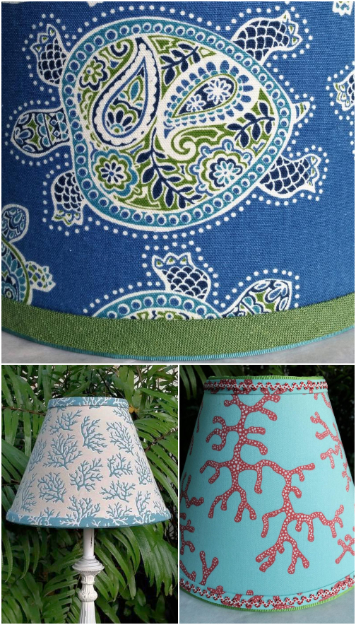 Coastal Fabric Lampshades Handmade
