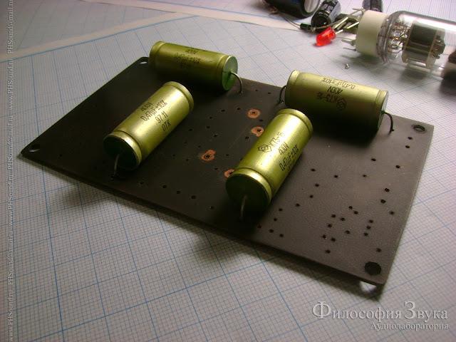 Этап сборки предварительного усилителя на лампе 6Н1П