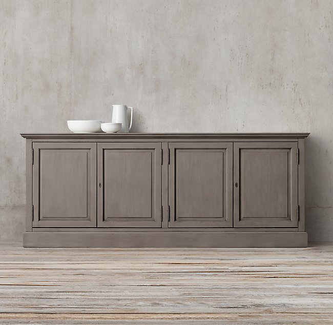 restoration hardware console in distressed grey